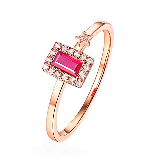 KnSam Ring for Women Fashion Fine Ruby0.15ct Red Diamond, White Gold 9 Carats Wedding Rings for Women Red Size 8 14k Gold Overlay Pear