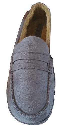 Mens New Hampshire Faux Suede Fur Lined Moccasin Slippers Shoes Size 7-12 Grey Tan FIN0qmM