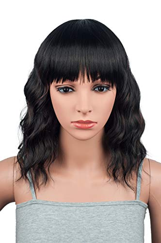 Fashion Shoulder Length Long Bob Hair Wigs For Black Women Medium Wavy Cut With Bangs Synthetic Party Costume Cosplay Wig 14 Inches (Black mix -