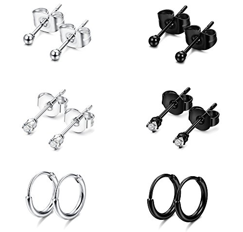 - Jstyle Stainless Steel 2mm Tiny Stud Earrings for Women Mens Endless Hoops CZ Balls Cartilage Earrings Set Silver Black