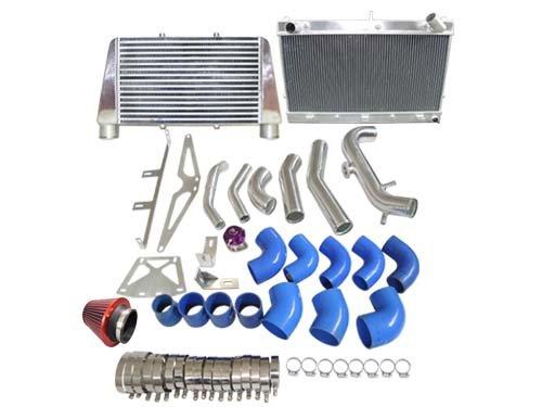 (CXRacing Intercooler + Radiator + Turbo Intake Filter BOV Kit For Z31 300ZX VG30ET V-Mount)