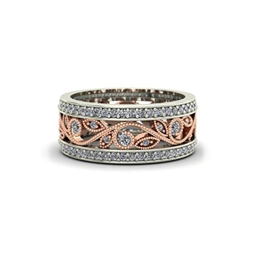 Women's Vintage Flower Filigree Statement Cocktail Band Rings Created 0.28ct White Diamond Promise Eternity Rings 18K Rose Gold Plated Two-tone (8) (Flower Ring Rose Cocktail)