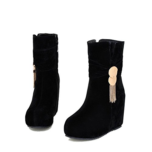 Allhqfashion Women's Low-top Zipper Frosted High-Heels Round Closed Toe Boots with Charms Black Nyn1D