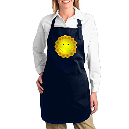 Fat Kid From Up Costume (Dogquxio Smiley Face Kitchen Helper Professional Bib Apron With 2 Pockets For Women Men Adults Navy)
