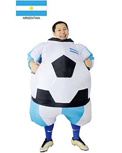 Soccer Ball Costume (Inflatable Soccer Club Football Fan Jersey Cosplay Costume Halloween Funny Party Dress Up Bodysuit (Argentina))