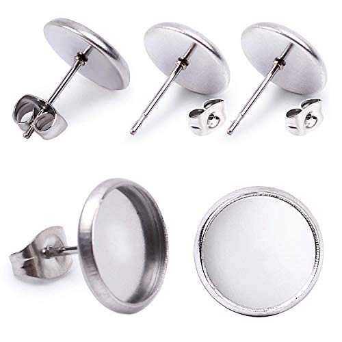 Jdesun 40 Pieces Stainless Steel Stud Silver Earring Cabochon Setting Post Cup for 12mm and 40 Pieces Earring Safety -