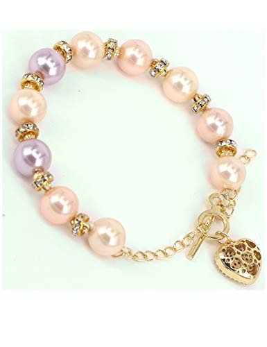 (Graceful Joy Multicolor Pearl Bracelets with Heart Shaped Pendant Wedding Bridal CZ Bracelet Jewelry for Bridesmaids (Multicolor))