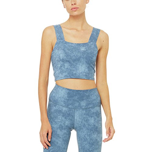 Alo Yoga Bind Fitted Bra Tank Top - Women's Denim Acid Wash, (Acid Wash Denim Shirt)