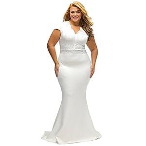 Lalagen Women's Short Sleeve Rhinestone Plus Size Long Cocktail Evening Dress
