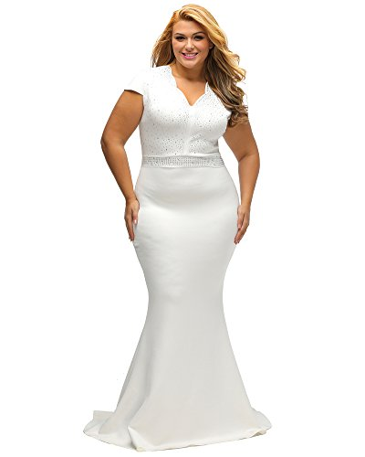 Lalagen Women's Short Sleeve Rhinestone Plus Size Long Cocktail Evening Dress White XL (Long Evening Cocktail)