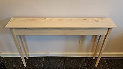 "46"" Unfinished Pine Narrow Tapered Leg Wall, Foyer, Sofa , Console, Hall Table"