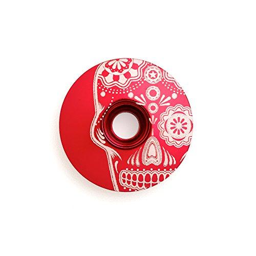 "Kustomcaps Sugar Skull 1 1/8"" Headset Cap Red"