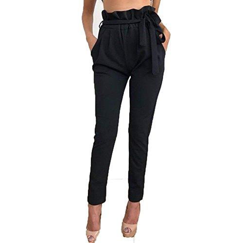 Mode Femme Taille Temps Libre Ceinture Pantalon Haute Marque Couleur Noir Crayon De Fit Unie Longue Tendance Automne Slim Élégante Avec O5p51qw