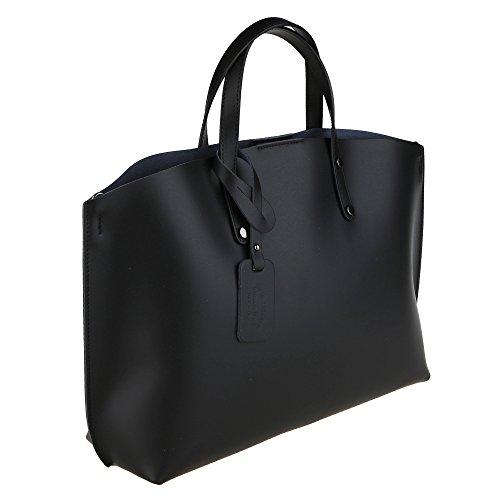 véritable Cm Femme en en Borse Chicca Noir Sac main Italie à Fabriqué cuir 47x30x14 5T70BqwSnB