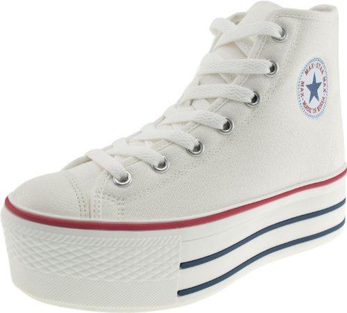 (Maxstar Women's C50 7 Holes Zipper Platform Canvas High Top Sneakers White 8 B(M) US)
