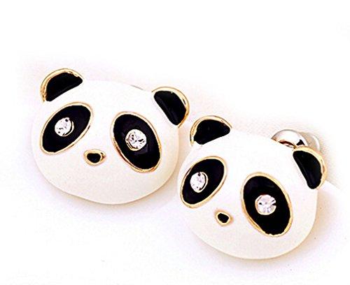 (DUOKA Cut Panda Bear Crystal Stud Earrings Vintage Retro Cute White Pave Posts Fashion Jewelry)