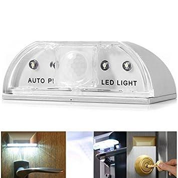 Infrarot Türbeleuchtung mit 4 LED Licht Türschloss Lampe mit PIR-Bewegungssensor