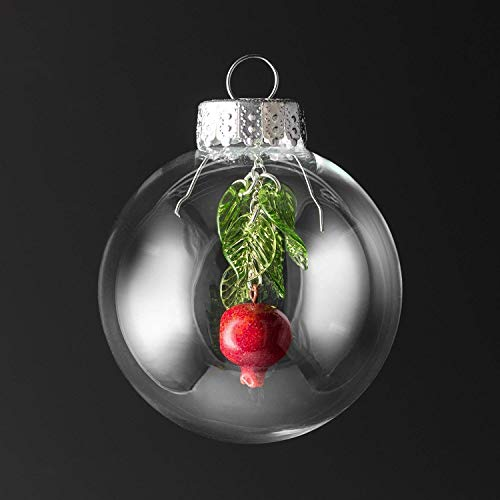 Glass Pomegranate Christmas Ornament with Five -