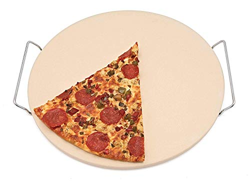 Homeworks Large Unglazed Ceramic Pizza Stone | Includes Metal Oven to Table Rack, Large 15 Inch Round Baking Stone, For Crispy Crust Pizza, Artisan Breads, Cookies and More ()
