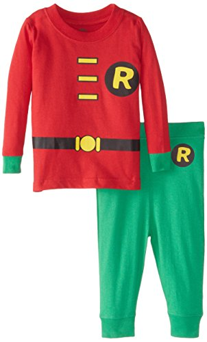 Infant Batman And Robin Costumes (DC Comics Infant 'Robin Superhero' Cotton Costume Pajama Set, Red, 18 Months)