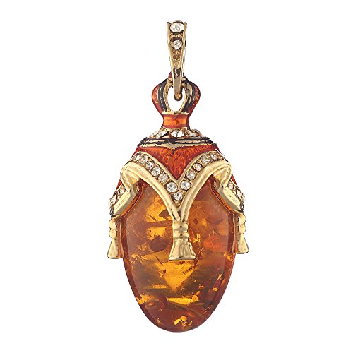 Pendants Style Faberge Eggs Faberge - Russian Faberge Style Egg Pendant/Charm with crystal 1 3/8'' amber color #0716