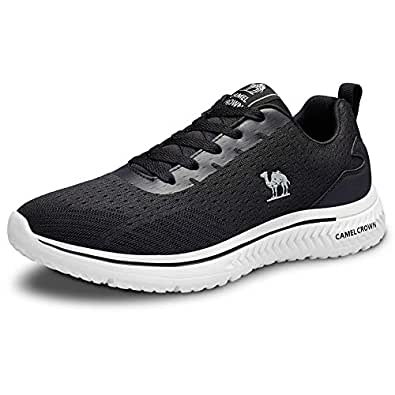 CAMEL CROWN Lightweight Road Running Shoes Casual Fashion Sneakers Sports Athletic Non-Slip Walking Shoes for Men Black Size: 7.5
