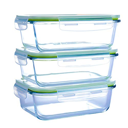 Rectangular Glass Meal Prep Containers & Compartment-3 Pack(36 oz),Vented Snap Locking Lids,Airtight & Leak Proof Food Storage Containers-Microwave and Freezer Safe,BPA-FREE
