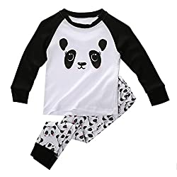 Boys Girls Pajama Set - Sodial(r)cute Panda Baby Toddler Kids Boys Girls Sleepwear Nightwear Pajama Set 5t