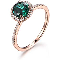 7mm Round Cut Emerald Engagement Ring,14K Rose gold,Halo Diamond,Wedding Ring,Lab-Treated Emerald Ring