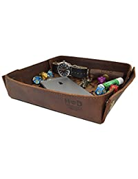 Hide & Drink Leather Catchall Change Keys Coins Jewels Box Tray Big Storage Handmade by Bourbon Brown