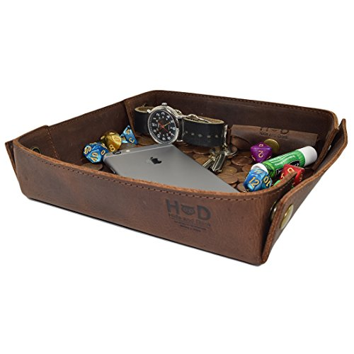 Hide & Drink, Leather Catchall Change Keys Coins Jewels Box Tray Big Storage Handmade Includes 101 Year Warranty :: Bourbon Brown ()