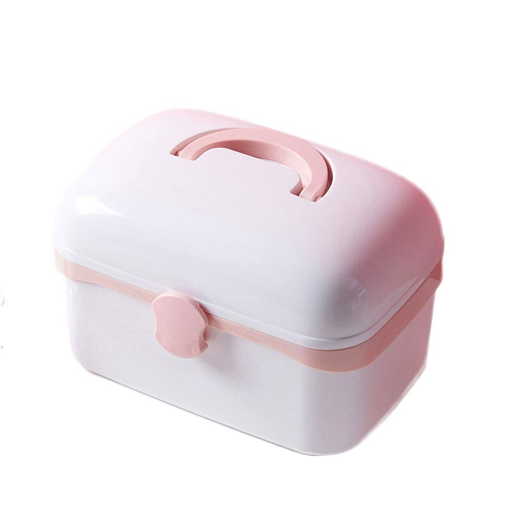 Medicine box Drug Storage Box Household Small Multi-Layer Portable Portable Emergency Box HUXIUPING (Color : Pink, Size : S)
