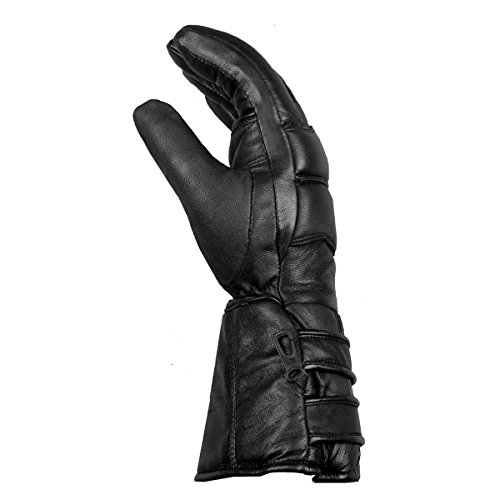 Mens Thermal Sheep Leather Winter Motorcycle Street Cruiser Gloves Black L