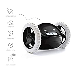 Clocky Rolling Alarm Clock | for Adults and Kids (Best Loud for Heavy Sleeper Bed-Room) Cool, Fun Clockie Jump, Chase, Run-away, Move, Wheel (Black)