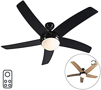 QAZQA Moderno Ventilador negro mando-a-distancia - COOL 52 Vidrio ...