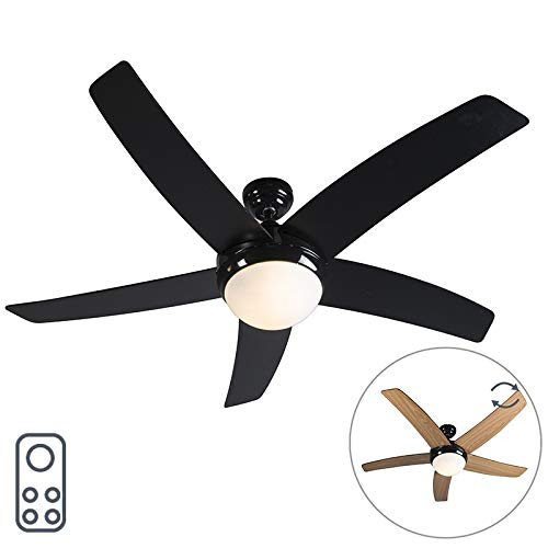 Qazqa Modern Ceiling Fan With Light And Remote Control Cool 52 Black