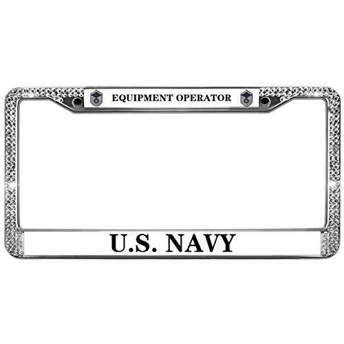 GND Bling License Plate Frame for Car,United States Navy Diamond License Plate Frame Equipment Operator Diamond Sparkly License Plate Frame for US Vehicles