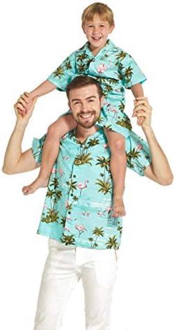 Hecho en Hawaii Padre e Hijo a Juego Camisa Cabana en Flamenco por Todas Partes en Color Turquesa XL-8: Amazon.es: Ropa y accesorios