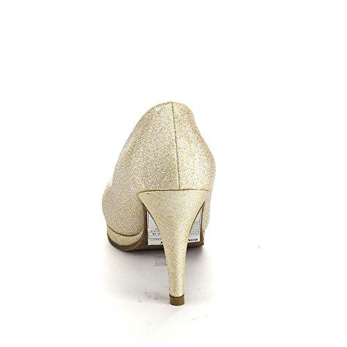 Kysse Og Fortelle Valonia-18 Womens Glitter Rund Tå Slip På Stiletto Pumper Champagne