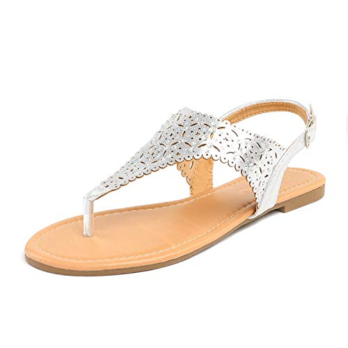 (DREAM PAIRS MEDINIE Women Rhinestone Casual Wear Cut Out Flat Sandals Silver Size 6)