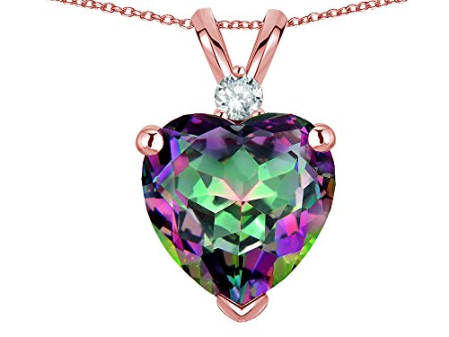 Star K 8mm Rainbow Mystic Topaz Heart Pendant Necklace 10k Rose (Mystic Topaz Heart)