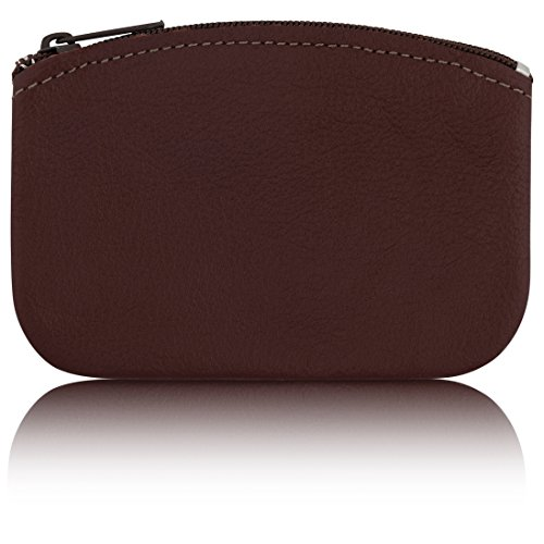 (Classic Men's Large Coin Pouch Change Holder, Genuine Leather, Zippered Change Purse, Pouch Size 5 x 3 By Nabob (Burgundy) )