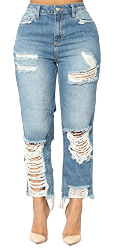 Femmes dchires Dtruit Distressed Cut Off Bodycon Skinny Denim Pantalon dcontract Jeans Pantalons Bleu clair