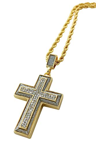 Iced Out Cross Pendant Necklace with 24