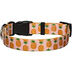 "Yellow Dog Design Pineapples Pink Dog Collar, Small-3/4"" wide fits neck sizes 10 to 14"""