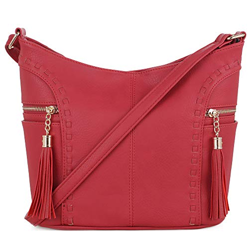 DELUXITY | Crossbody Hobo Slouch Bucket Purse Bag | Side Pockets with Tassel | Adjustable Strap | Red