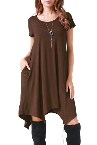 Invug Women Casual Loose Soft Crewneck Short Sleeve Pockets Swing T-Shirt Dress Coffee ()