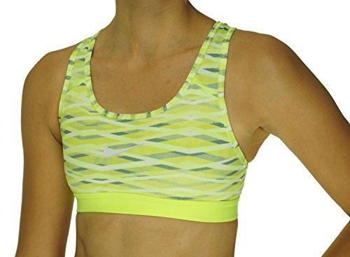 Nike Women's Pro Classic Criss Cross Printed Sports Bra (X-Small, Lime Green/Grey/White)