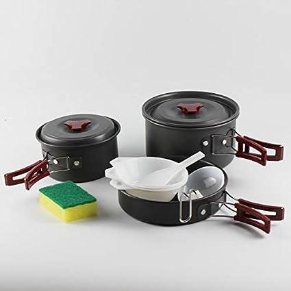 HWYYGL Estufa de Camping + Olla, Kit de Utensilios de Cocina ...