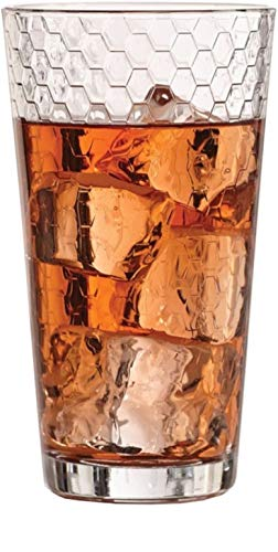 Circleware 40145 Paragon Heavy Base Highball Drinking Glasses Tumblers, Huge Set of 8 Kitchen Entertainment Ice Tea Beverage Cups Glassware for Water, Juice, Beer and Bar Decor Gift, 15.7 oz, Clear